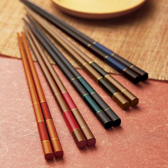 若狭塗 染木市松箸セット